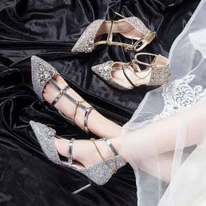 Sparkly Silver Wedding Shoes Polyester 2020 T-Strap Rhinestone Sequins 8 cm Stiletto Heels Pointed Toe Wedding High Heels