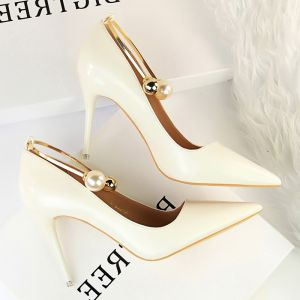 Mode Ivory Casual Pumps 2019 Perle 9 cm Stiletter Spidse Tå Pumps