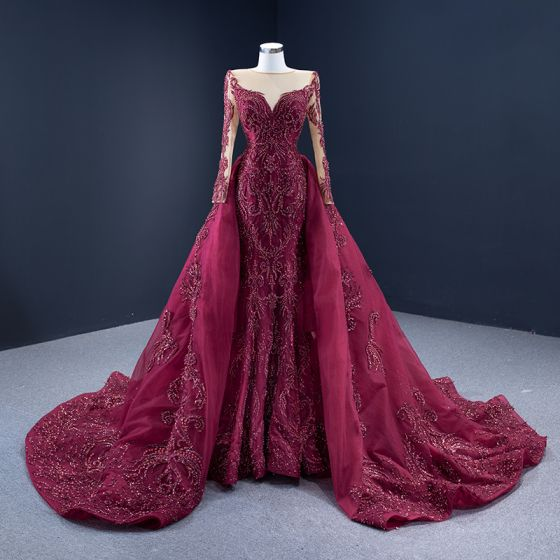 High-end Red Carpet Burgundy Evening Dresses  2021 A-Line / Princess See-through Square Neckline Long Sleeve Handmade  Beading Sequins Court Train Ruffle Formal Dresses