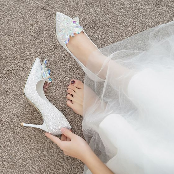 Błyszczące Uroczy Kość Słoniowa Kopciuszek Kryształ Buty Ślubne 2020 Cekiny 7 cm Szpilki Szpiczaste Ślub Czółenka