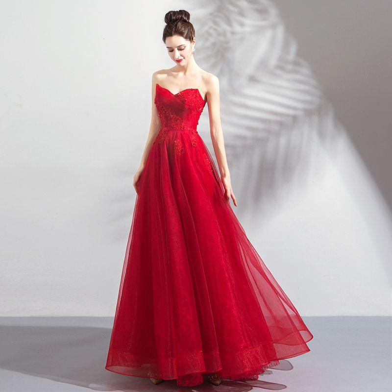 Charmant Rouge Robe De Bal 2018 Princesse Perlage Cristal Paillettes En Dentelle Fleur Bustier Dos Nu Sans Manches Longue Robe De Ceremonie