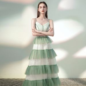 Chic / Beautiful Sage Green Evening Dresses  2020 A-Line / Princess Spaghetti Straps Sequins Sleeveless Backless Floor-Length / Long Formal Dresses
