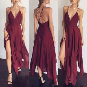 Modest / Simple Burgundy Summer Honeymoon Maxi Dresses 2019 Spaghetti Straps Plunging Cross-Back Backless Sleeveless Asymmetrical Womens Clothing