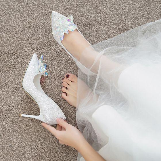 Scintillantes Charmant Ivoire Cendrillon Cristal Chaussure De Mariée 2020 Paillettes 7 cm Talons Aiguilles À Bout Pointu Mariage Escarpins