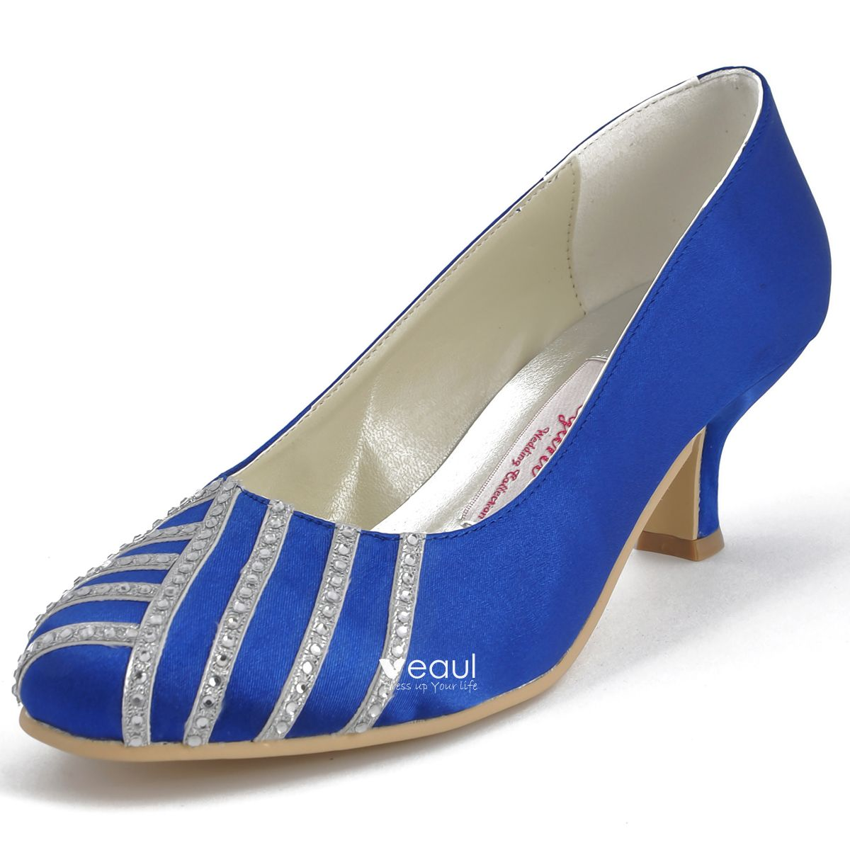 Cute Handmade Diamond Round In Party Shoes With Satin Wedding Shoes
