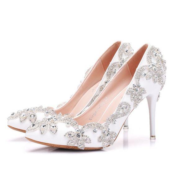 Scintillantes Ivoire Chaussure De Mariée 2018 Faux Diamant 8 cm Talons Aiguilles À Bout Pointu Mariage Escarpins