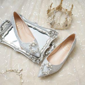 Fashion Silver Flat Wedding Shoes 2020 Pearl Rhinestone Sequins Pointed Toe