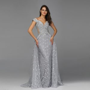 High-end Grey See-through Evening Dresses  2020 A-Line / Princess Off-The-Shoulder Short Sleeve Appliques Lace Sweep Train Ruffle Backless Formal Dresses