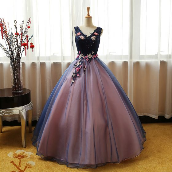 Chic / Beautiful Navy Blue Pearl Pink Prom Dresses 2017 Ball Gown V-Neck Sleeveless Appliques Lace Flower Pearl Sequins Floor-Length / Long Ruffle Backless Formal Dresses