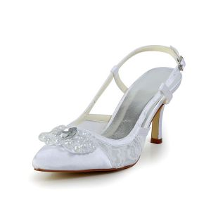 Elegant White Wedding Shoes Lace Stilettos Sandals Slingbacks With Sequins Rhinestone