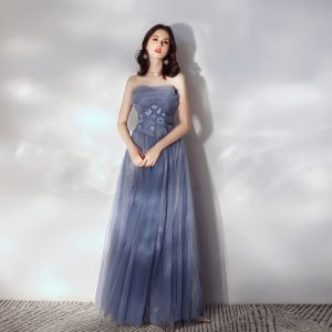Chic / Beautiful Ocean Blue Prom Dresses 2020 A-Line / Princess Strapless Lace Flower Sleeveless Backless Floor-Length / Long Formal Dresses