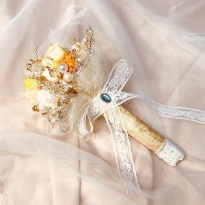 Oszałamiający Romantyczny Szampan Bukiety Ślubne 2020 Wykonany Ręcznie Tiulowe Metal Frezowanie Kryształ Kwiat Perła ślubna Ślub Bal Akcesoria