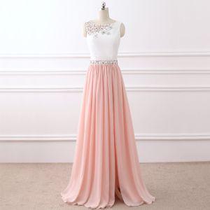 Schöne Weiß Pearl Rosa Abendkleider 2017 A Linie U-Ausschnitt Kristall Strass Chiffon Abend Festliche Kleider
