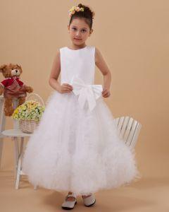 Satin Tulle Flower Girl Dresses