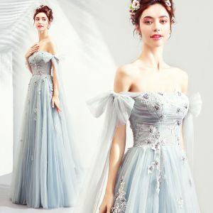 Elegant Sky Blue Prom Dresses 2019 A-Line / Princess Off-The-Shoulder Lace Flower Pearl Bow Sleeveless Backless Floor-Length / Long Formal Dresses