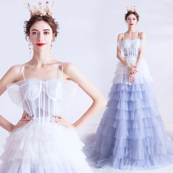 Fashion Ivory Sky Blue Gradient-Color Prom Dresses 2020 A-Line / Princess Spaghetti Straps Sleeveless Backless Cascading Ruffles Court Train Formal Dresses