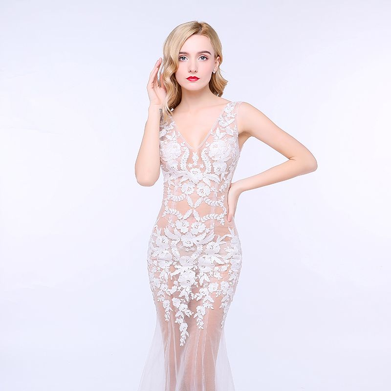 Trumpet / Mermaid Party Dresses Zipper Up Royal Train Pierced Lace Cowl Neck Casual Church Cocktail Party Evening Party Outdoor / Garden Summer Sleeveless Chic / Beautiful 2017