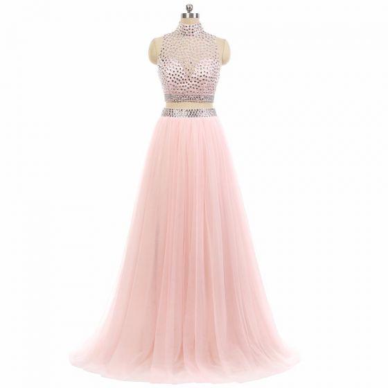 565a08e48 Brillante 2 Piezas Rosa Vestidos de gala 2017 A-Line   Princess Cuello Alto Sin  Mangas Rebordear ...
