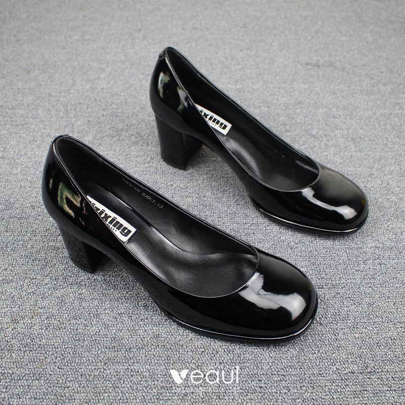 Modest / Simple Yellow Casual Womens Shoes 2019 Leather Patent Leather 6 cm Stiletto Heels Round Toe Pumps