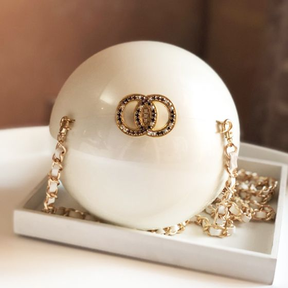 Chic / Beautiful Ivory Acrylic Clutch Bags Pearl Accessories 2019