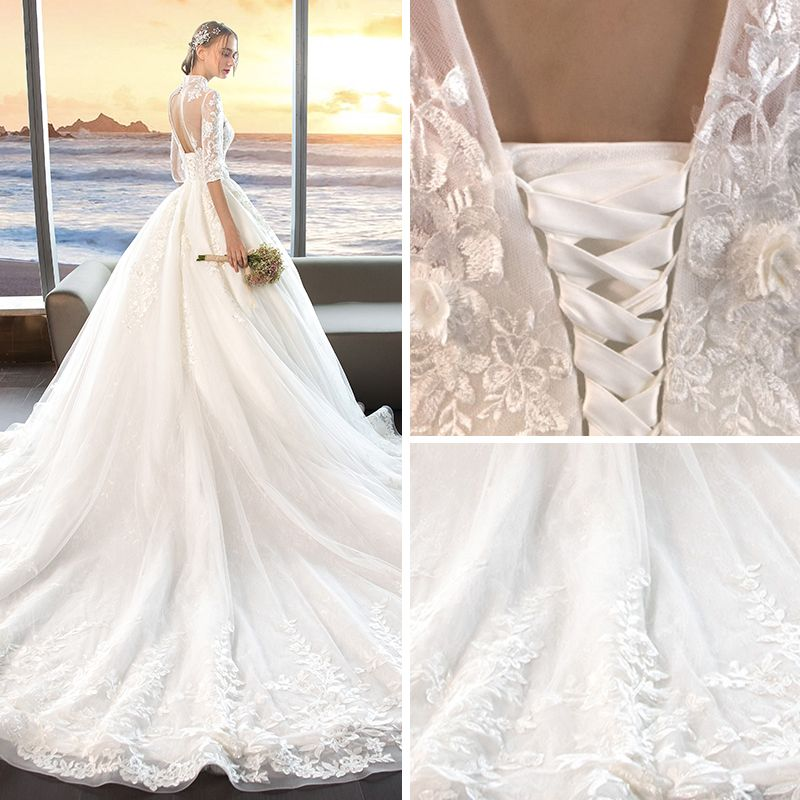Chinese style Ivory See-through Wedding Dresses 2019 A-Line / Princess High Neck 1/2 Sleeves Backless Pearl Appliques Lace Pierced Chapel Train Ruffle