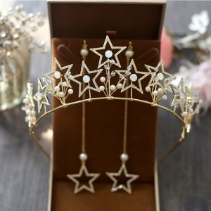 Chic / Beautiful Gold Bridal Jewelry 2017 Star Metal Beading Crystal Handmade  Wedding Prom Accessories
