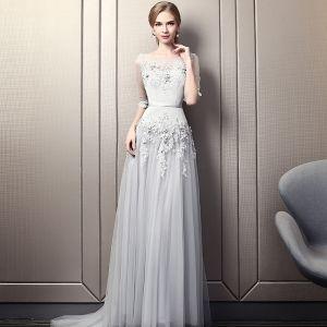 Elegant Grey Evening Dresses  2019 A-Line / Princess Scoop Neck Beading Crystal Lace Flower Sequins 1/2 Sleeves Backless Court Train Formal Dresses