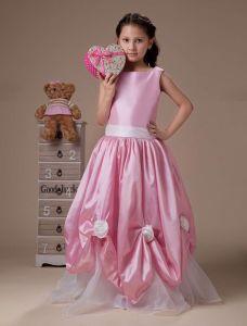 Roze Mouwloze Sjerp Taft Organza Meisjes Jurken Bloemenmeisjes Jurken