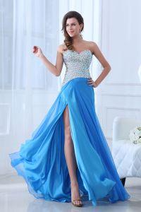 Longues Robes De Soirée Bleu Délicate Parole Longueur Manches