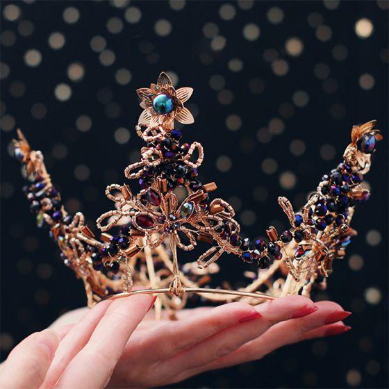 Luksusowe Złote Tiara Kolczyki Biżuteria Ślubna 2019 Metal Frezowanie Kryształ Ozdoby Do Włosów Ślubne