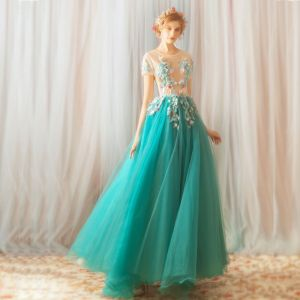 Flower Fairy Jade Green Floor-Length / Long Prom Dresses 2018 A-Line / Princess Tulle U-Neck Appliques Backless Beading Evening Party Evening Dresses