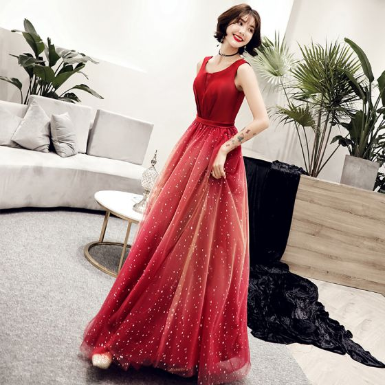 Elegant Red Gradient-Color Evening Dresses  2019 A-Line / Princess Scoop Neck Sleeveless Glitter Tulle Floor-Length / Long Ruffle Backless Formal Dresses