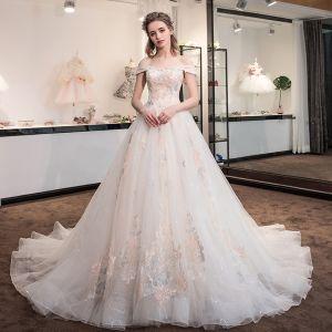 Schöne Champagner Brautkleider 2018 A Linie Glanz Mit Spitze Blumen Strass Off Shoulder Rückenfreies Ärmellos Kathedrale Schleppe Hochzeit