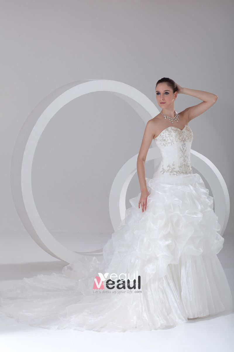 Organza Embroidered Beading Sweetheart Court Train Tiered Ball Gown Wedding Dress