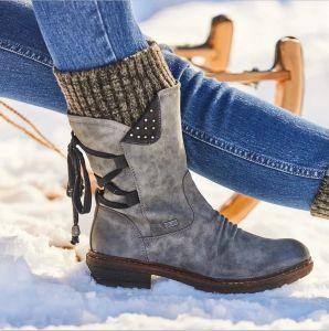 Chic / Beautiful Winter Grey Street Wear Flat Round Toe Womens Boots 2020