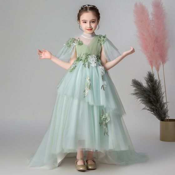 Flower Fairy Green See-through Flower Girl Dresses 2019 Empire High Neck Sleeveless Appliques Flower Sweep Train Ruffle Wedding Party Dresses