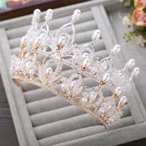 Chic / Beautiful Gold 2017 Bridal Jewelry Beading Pearl Rhinestone Metal Wedding Prom Headpieces Accessories