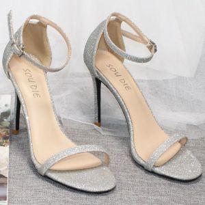 Sexig Silver Afton Glittriga / Glitter Paljetter Sandaler Dam 2020 Ankelband 10 cm Stilettklackar Peep Toe Sandaler