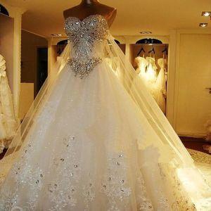 Luxus / Herrlich Weiß Korsett Brautkleider / Hochzeitskleider 2017 A Linie Herz-Ausschnitt Ärmellos Rückenfreies Strass Kristall Kathedrale Schleppe