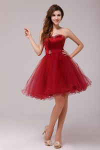2015 Dazzling Short Tulle Satin Sweetheart Cocktail Dress