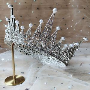 Chic / Beautiful Silver Tiara Bridal Hair Accessories 2020 Metal Pearl Rhinestone Wedding Accessories