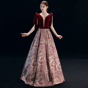 Elegant Burgundy Evening Dresses  2019 A-Line / Princess Square Neckline Suede Sleeveless Backless Printing Floor-Length / Long Formal Dresses