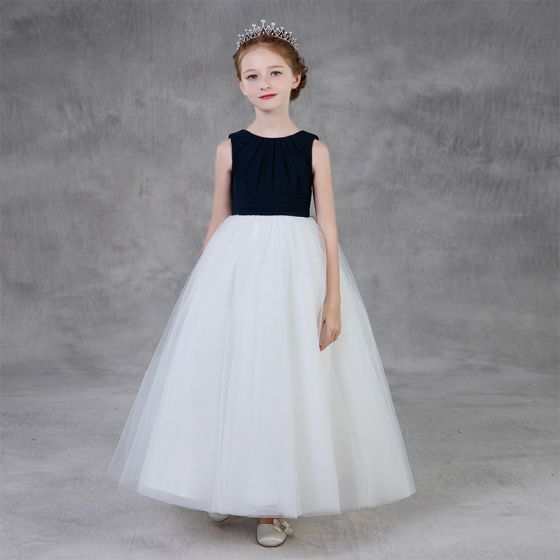 Dos colores Negro Blanco Vestidos para niñas 2020 A-Line / Princess Scoop Escote Sin Mangas Largos Ruffle