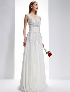 Exquisite A-line Square Neckline Pierced Lace Flowers Backless Chiffon Wedding Dress