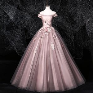 Flower Fairy Blushing Pink Grey Prom Dresses 2020 Ball Gown Off-The-Shoulder Beading Appliques Lace Flower Sleeveless Backless Floor-Length / Long Formal Dresses