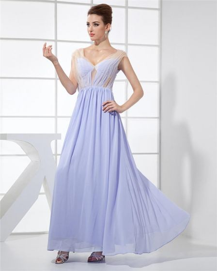 Fashion Chiffon Charmeuse Silk Gauze V Neck Floor Length Sleeveless Women Evening Dress