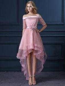 Neue Mode Rosa Cocktailkleid Tüll Quadratischen Ausschnitt Kurze Partykleid Mit Blume