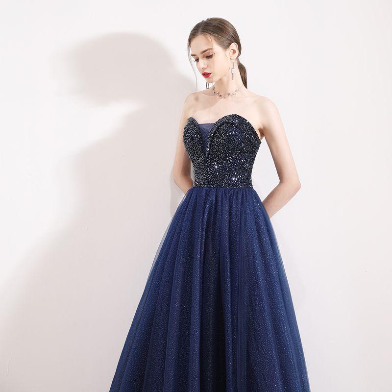 Luxury / Gorgeous Navy Blue Prom Dresses 2019 A-Line / Princess Sweetheart Sleeveless Beading Glitter Tulle Floor-Length / Long Ruffle Backless Formal Dresses