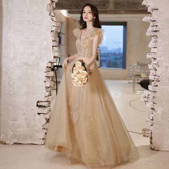 Charming Champagne Prom Dresses 2021 A-Line / Princess Square Neckline Beading Short Sleeve Backless Floor-Length / Long Prom Formal Dresses