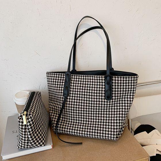 2 Stück Schwarz Weiß Tragetasche Schultertaschen 2021 PU Freizeit Damentaschen